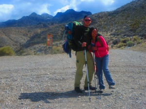 Aaron and Terri Rupp about to begin an 11.5 mile backpacking trip